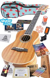 Ukulele Starter Kit (15-FREE-Bonuses) Mahogany Uke, Compression Sponge Case, Aquila Strings, Felt Picks, Tuner, Chord Stamp, Chord Chart, Leather Strap,...