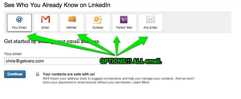 LinkedIn Email Invite a Friend