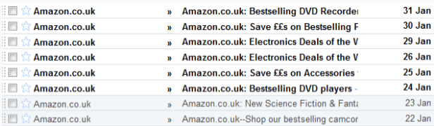 Amazon Series of Emails