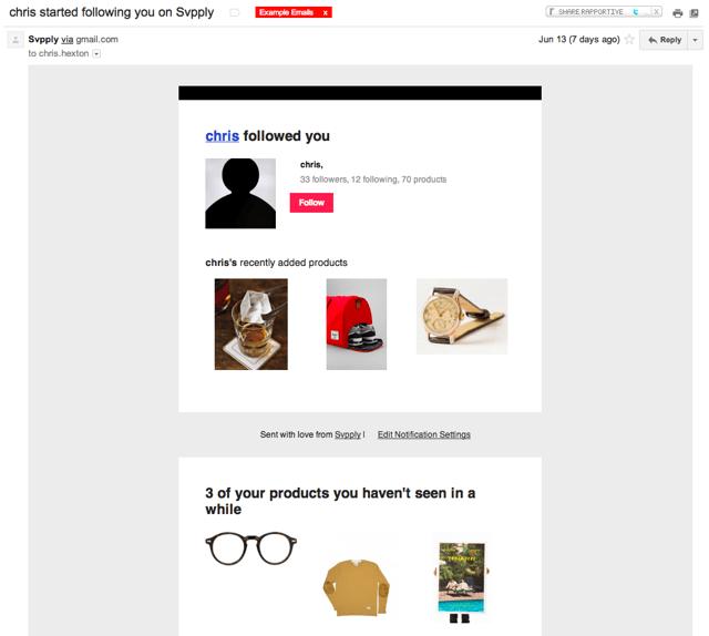Svpply social email