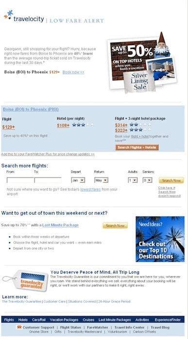 Travelocity Email Marketing