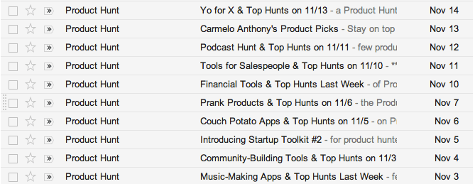 product hunt daily emails