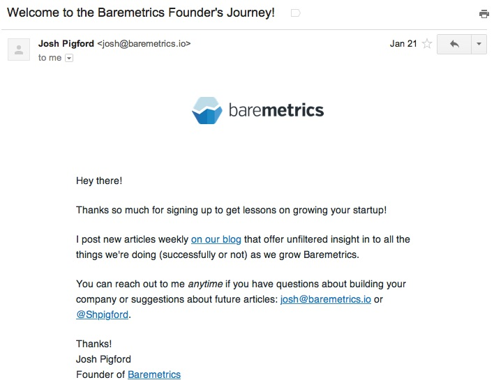 baremetrics welcome email
