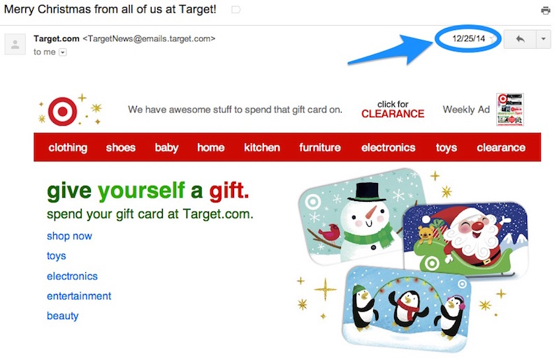 target christmas email