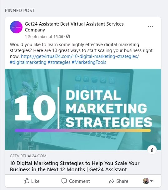 facebook pinned post example