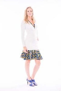 White v neck jersey dress With ethnic print Trim
