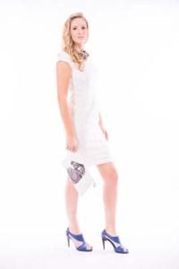 White Linen Knee Length Dress