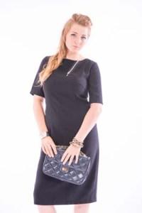 Black short sleeve Knee Length dress with Zip Trim