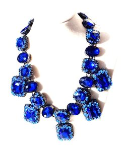 Blue crystal statement Necklace