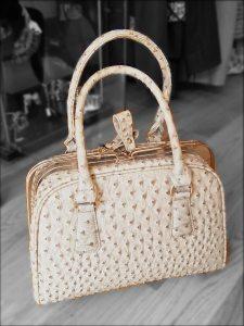 Cream moc croc handbag With removable shouder strap