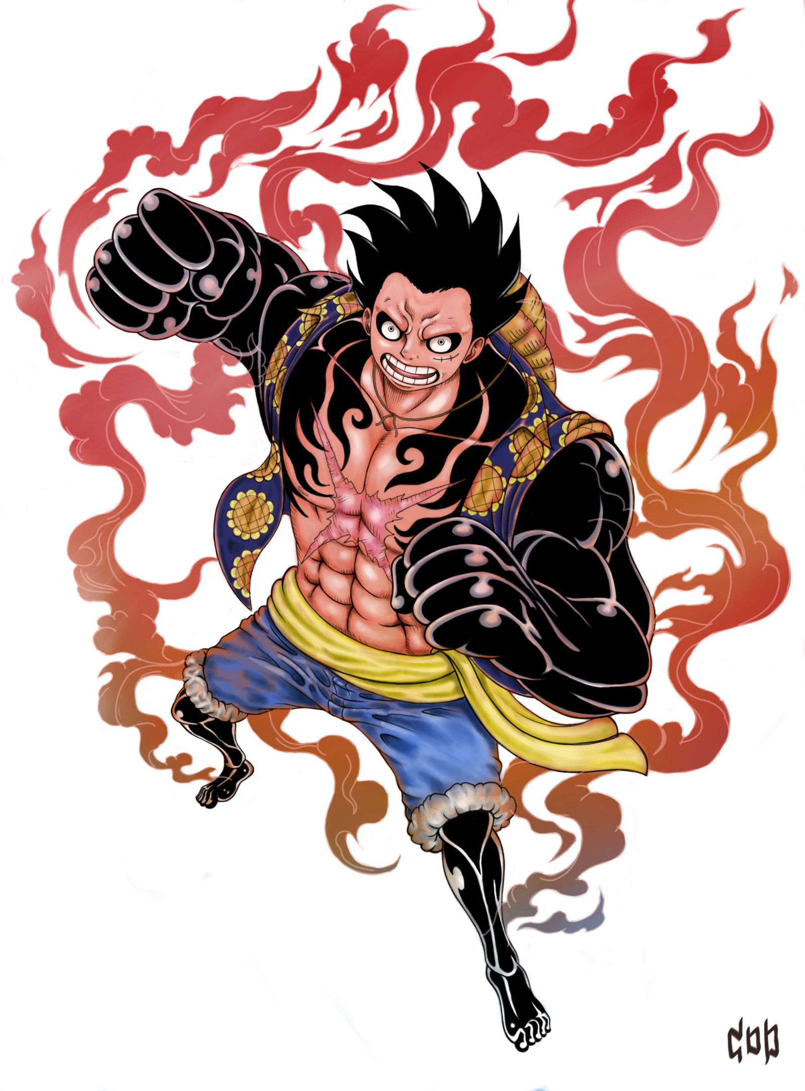 Luffy coats his arm in busoshoku haki before biting into his forearm. Gear Fourth Wallpapers (66+ images)