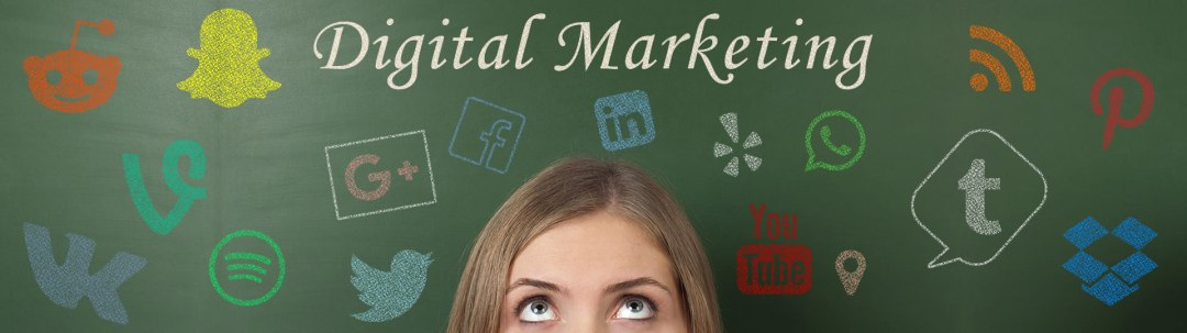 Digital Marketing Ottawa - Woman looking up while standing in front of a chalkboard, surrounded by social media icons displayed in chalk