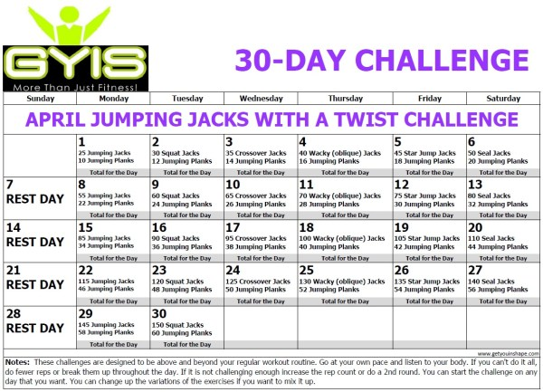 30 Day Jumping Jacks With A Twist Challenge Apr 19