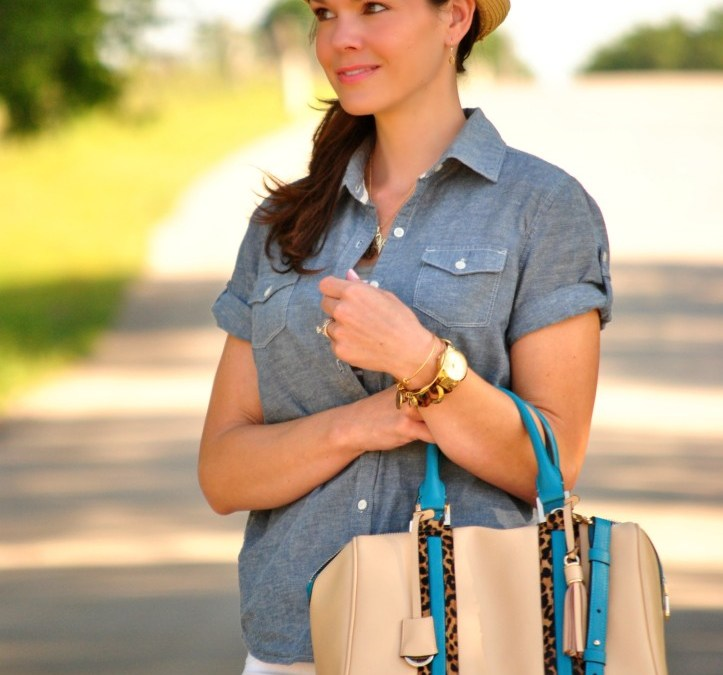 Easy Outfit Formula | White Denim, Chambray and Stripes