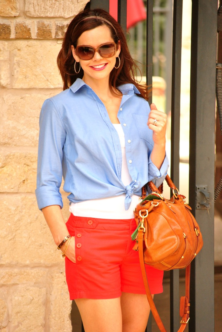 Red Shorts Blue Oxford 34