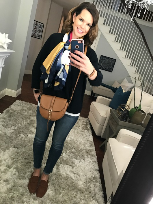 navy-sweater-frayed-jeans-scarf