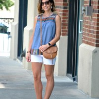 SAHMonday:  Embroidered Top + White Shorts