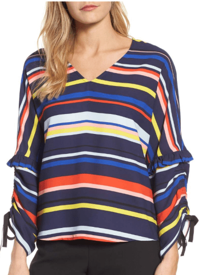 striped tie sleeved blouse