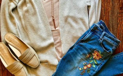 SAHMonday: Blush Top, Embroidered Jeans and Mules