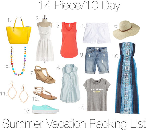 Summer Vacation Packing List – 14 Pieces/10 Days