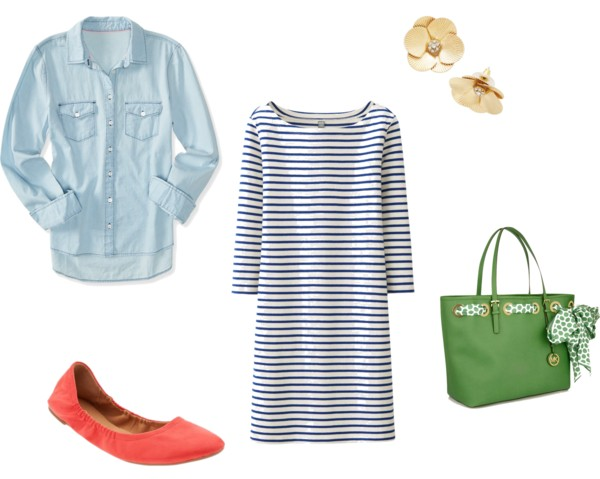Spring Outfit Formula:  Chambray + Striped Dress