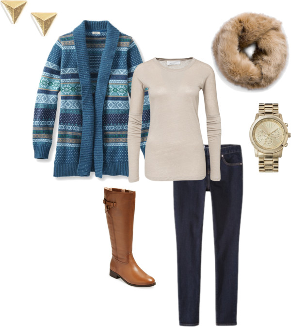 Easy Winter Outfit | Cardigan, Neutral Tee, Fur Scarf, Skinny Jeans and Riding Boots
