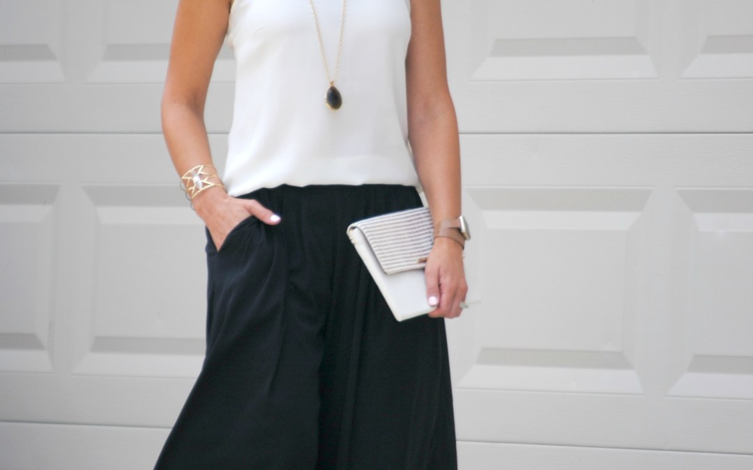 Culottes Outfit:  Black and White with a Little Leopard
