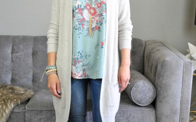 SAHMonday:  A Floral Mixed Media Top, Cardigan and Sandals