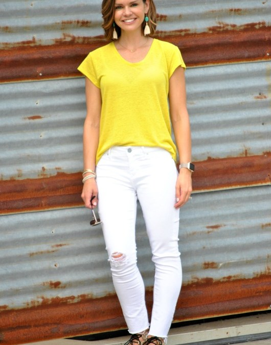 SAHMonday:  Yellow Tee and White Jeans