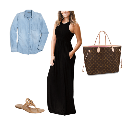 maxi dress travel outfit for summer vacation