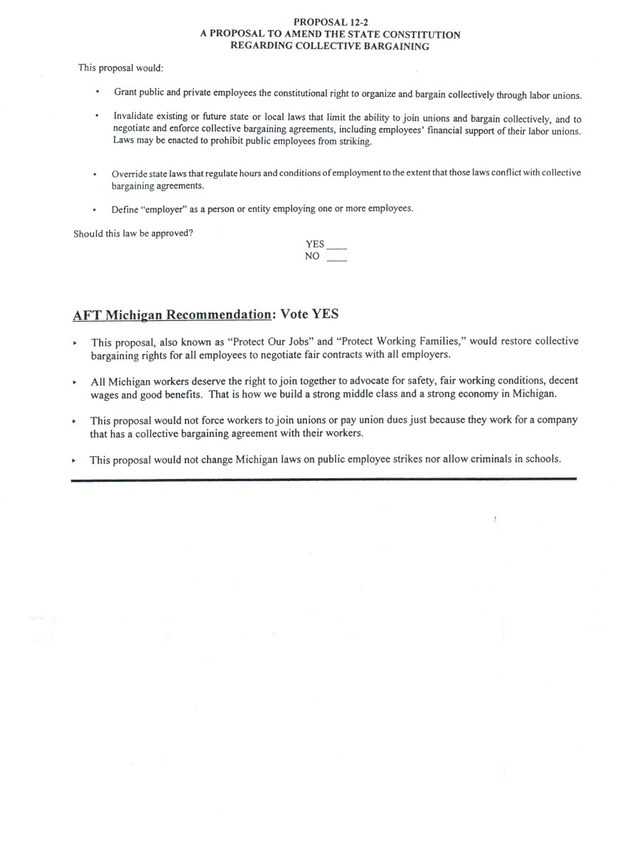 Ballot Language along with GEU and AFT Michigan's voting recommendation and reasoning for Proposal 2