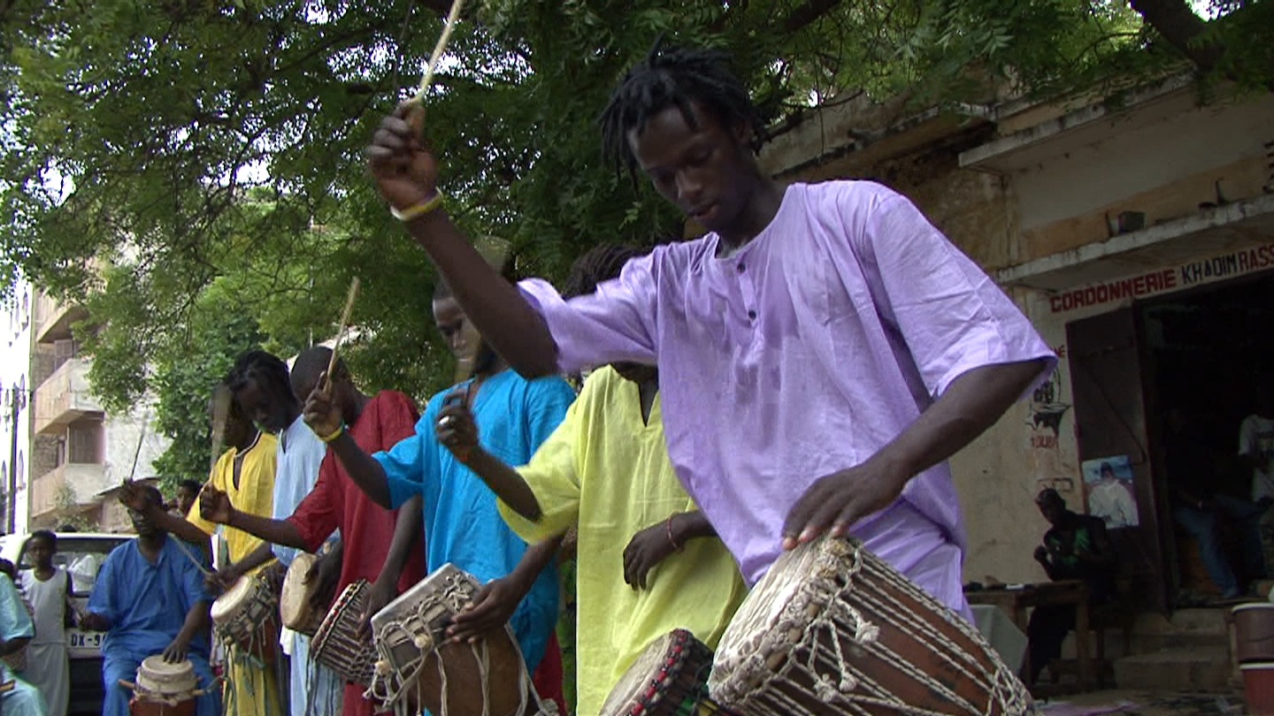 Drummers from the Sing Sing family play.