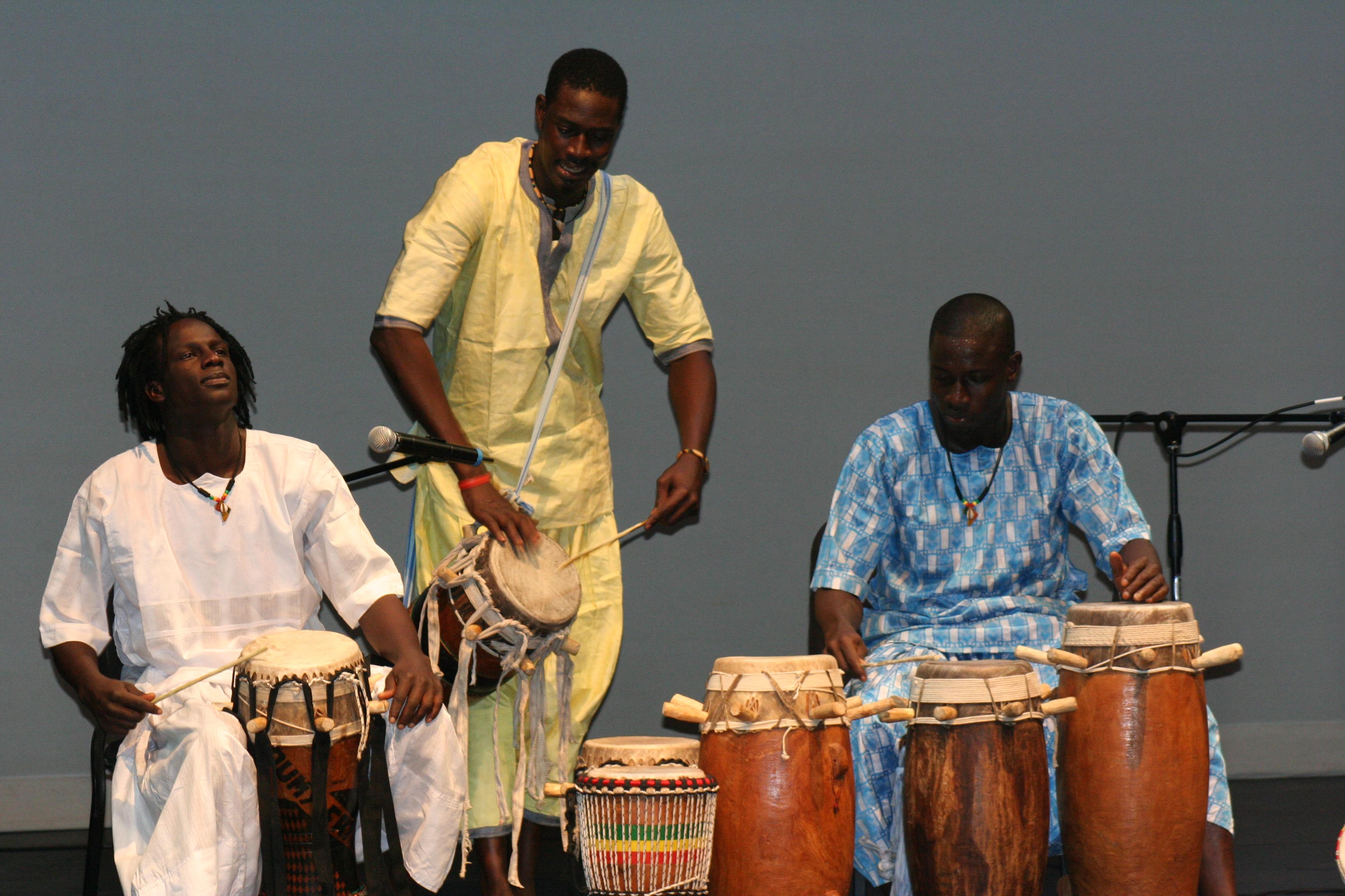 Malick, Moustapha and Aziz create a rhythmic experience.