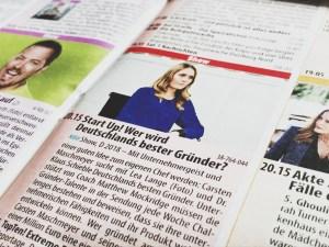 TV-Zeitschrift Ausschnitt Start Up! Wer wird Deutschlands bester Gründer