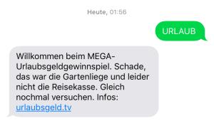 SMS-Nachricht bei MEGA-Urlaubsgeld Gewinnspiel-Teilnahme