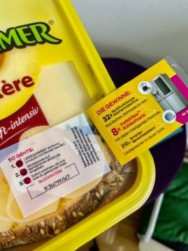 Glückscode auf Aktionspackung Käse