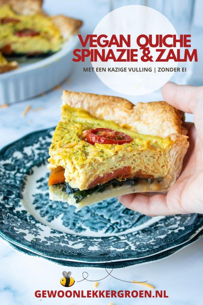 Vegan quiche met spinazie en zalm