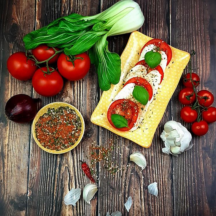 Tomate Mozzarella und Gewürz