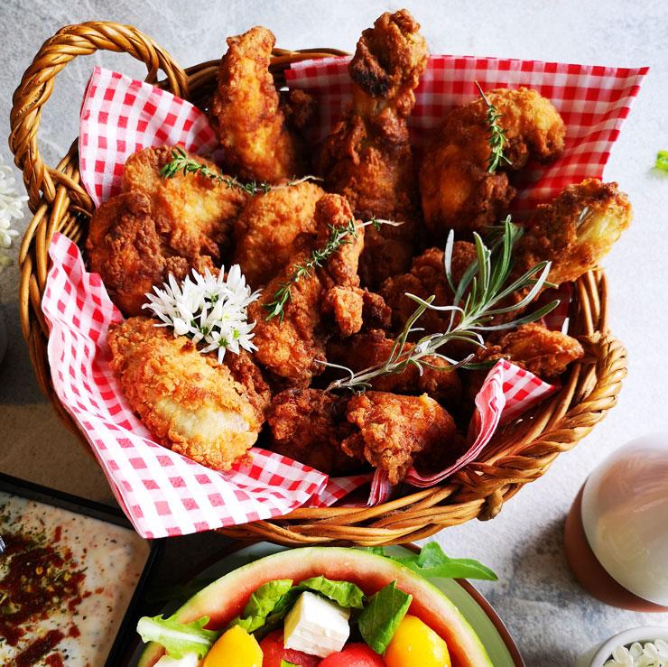 Crispy Chicken mit Melonensalat