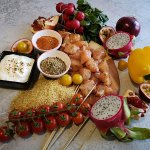 Zutaten für ein exotisches Chicken Sis Kebab Menü