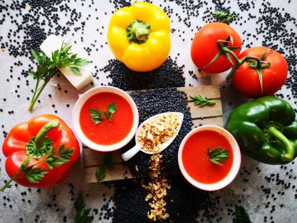 Zutaten für Paprikaschoten-mit-Belugalinsen