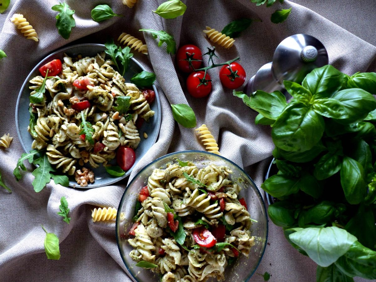 Italienischer Nudelsalat Rezept vegan Pesto