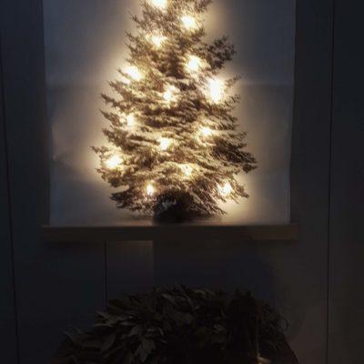 Canvasdoek met kerstboomprint LED verlichting 45 x 57cm !!  SHOWROOMMODEL !!
