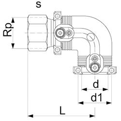 Переход 90° электросварной ПЭ / сталь (нержавеющая 1.4305) внутренняя резьба (схема/чертеж)