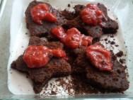 Spoon strawberry sauce onto each piece