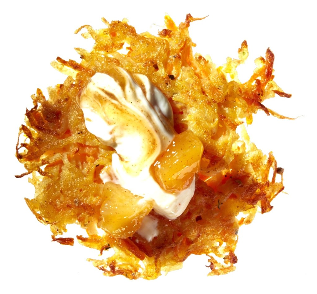 Gluten-Free Curry-Carrot Latkes with Mango Chutney and Yogurt