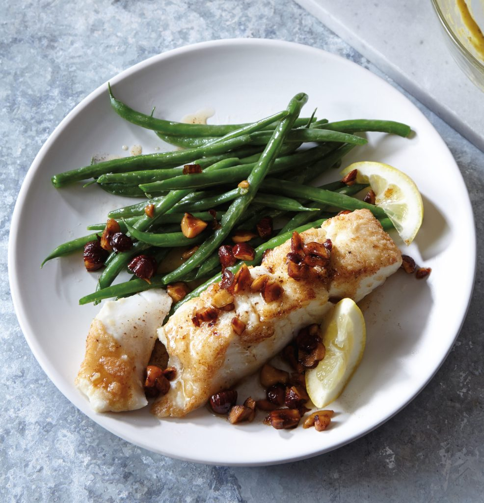 Gluten Free Pan-Seared Halibut with Brown Butter and Hazelnuts