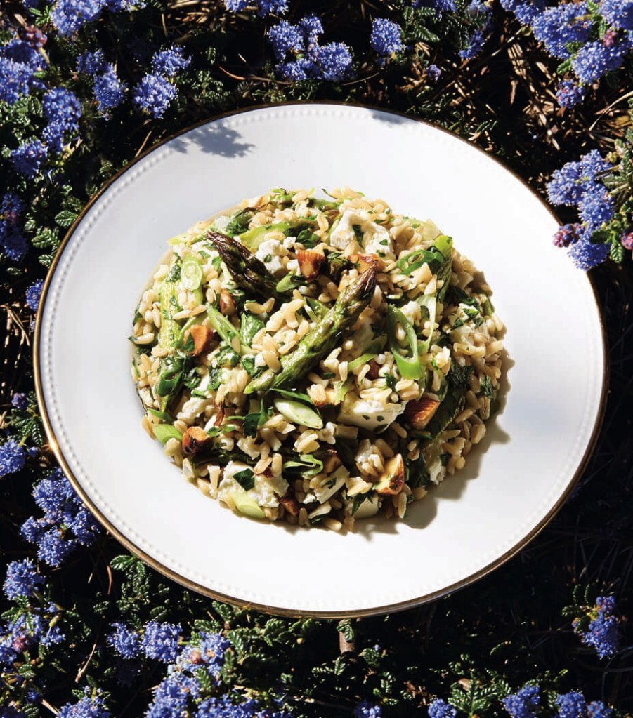 Gluten-Free Roasted Asparagus and Oat Berry Salad with Feta, Almonds, and Mint Recipe