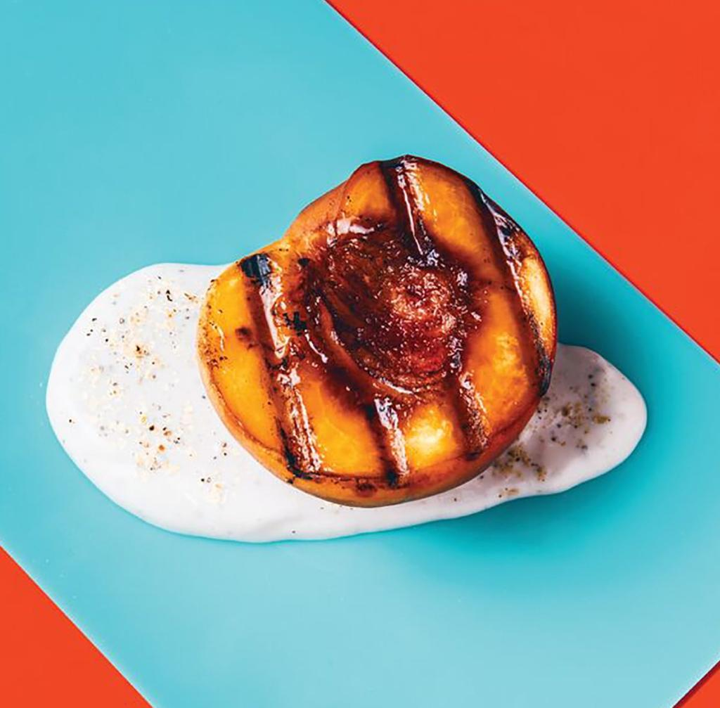 Grilled Peaches with Cardamom-Honey Yogurt