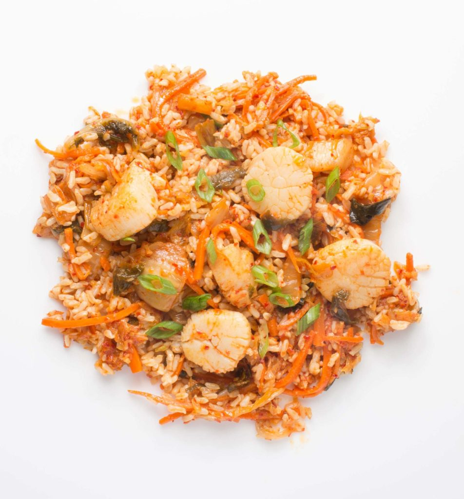 Gluten-Free Fried Rice with Scallops and Kimchi